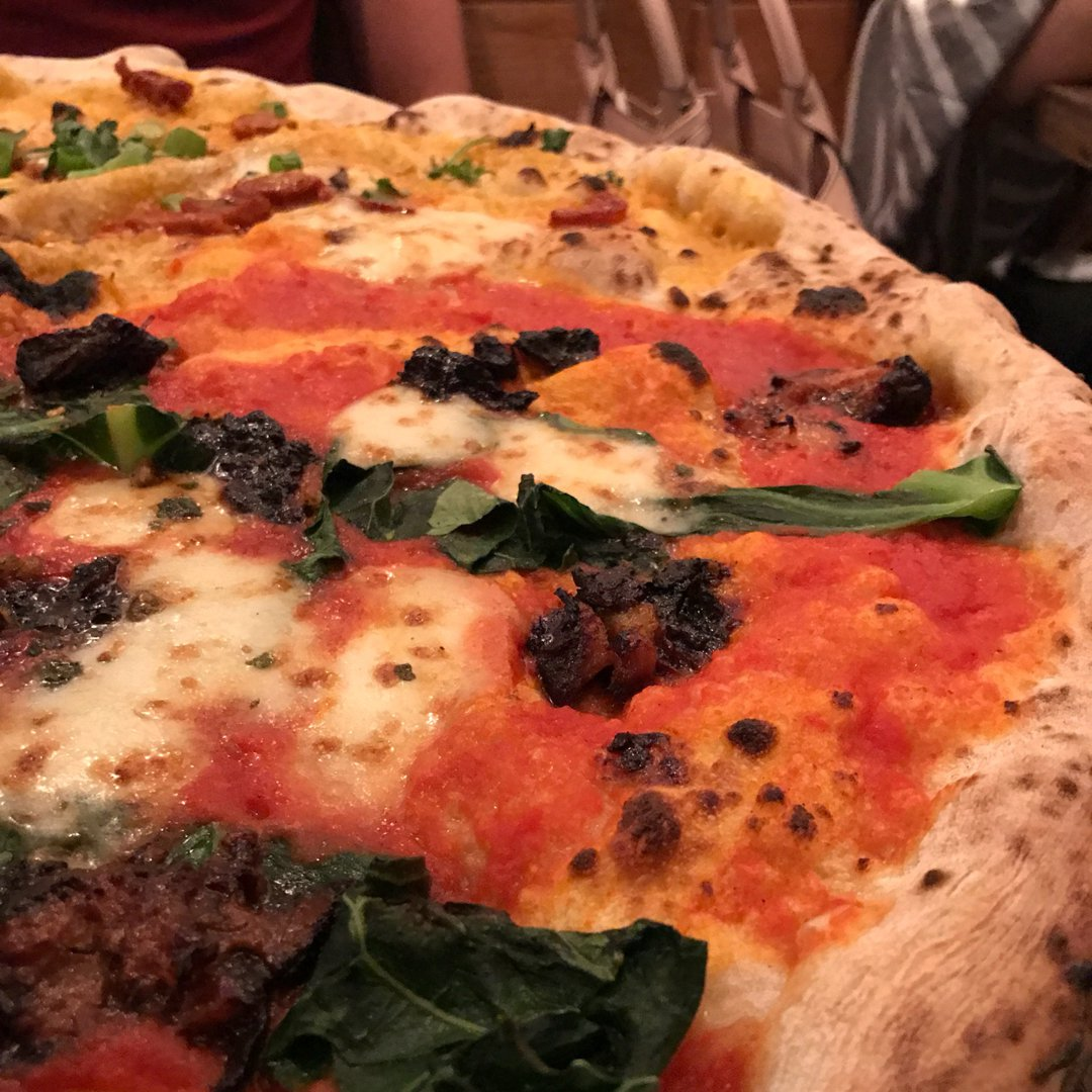 Photo of Xo Pig Cheek Pizza With Collard Greens & Cracking Furikake (Pizza) at Homeslice Pizza